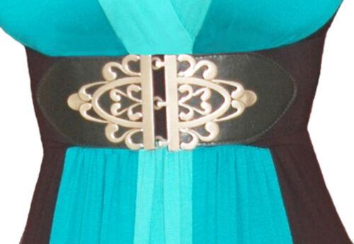 B002 Funfash Plus Size Cinch Gothic Silver Buckle Stretch Elastic Belt 1x 18 20