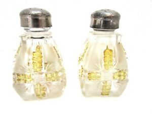 Klondike Clear With Amber Stain Frosting Salt Pepper Shakers Dalzell 1898 Ebay