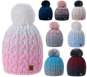 Women-Ladies-Winter-Beanie-Hat-Multicoloured-Hats-Knitted-Pom-Pom-Worm-Fleece