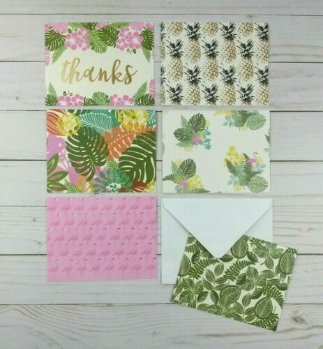 Blank Greeting Note Cards 6 Count Thanks Flamingo Tropical Pineapple