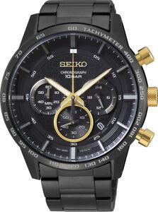 Seiko-50th-Anniversary-Black-and-Gold-Chronograph-Mens-Watch-SSB363P
