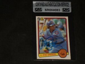 RYNE SANDBERG 1983 DONRUSS ROOKIE SIGNED AUTOGRAPHED CARD 277 CUBS CAS CERTIFIED