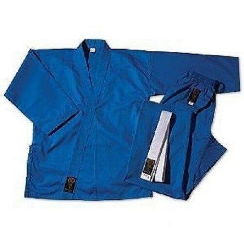 ProForce Gladiator 7.5 oz. Medium Weight Uniform Karate Gi w  White Belt - blueee
