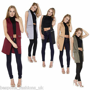 a3b6f32c2cac8 Ladies Women s Sleeveless Zip Pocket Long Waistcoat Blazer Jacket ...