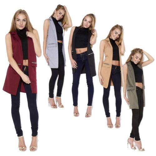 Ladies Women/'s Sleeveless Zip Pocket Long Waistcoat Blazer Jacket Coat Top SM ML