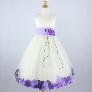 a3b1a73d295 IVORY LILAC Flower Girl Dress Petals Formal Recital Prom Birthday ...