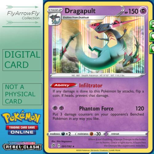 Dragapult Holo 91//192 Rebel Clash for Pokemon Card Online TCG Digital