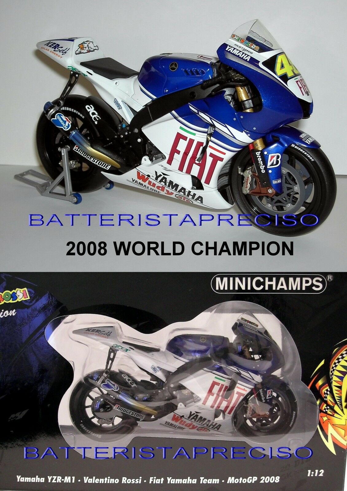 MINICHAMPS VALENTINO ROSSI 1 12 YAMAHA  2008  WORLD CHAMPION  VERY RARE SOLD OUT  bienvenue à choisir
