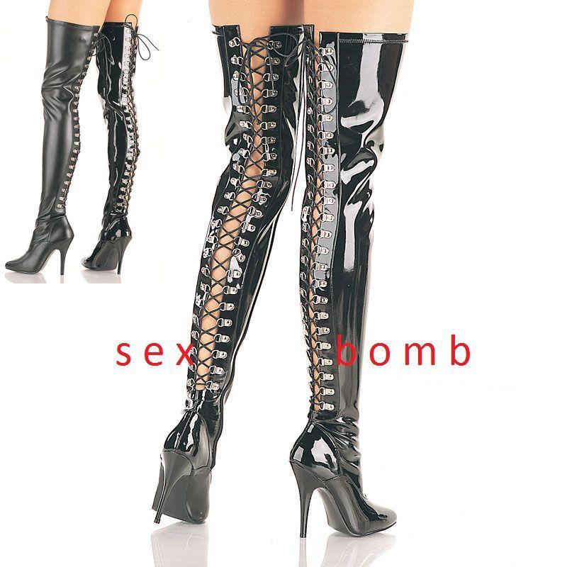 Grandes zapatos con descuento SEXY stivali coscia stringati nero lucidi TACCO 13 DAL 36 AL 44 fashion GLAMOUR