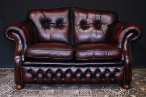 Chesterfield Divano Originale.Dettagli Su Bel Divano Originale Chesterfield Chester 2 Posti In Pelle Bordeaux Leather