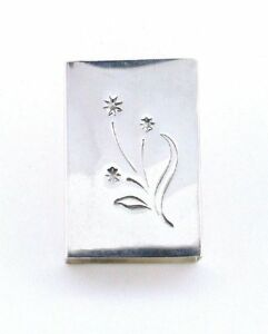 ONE-VINTAGE-REED-amp-BARTON-Pure-Sterling-Silver-Floral-Match-Box-Cover-AS120