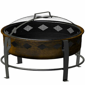 Landmann 7 Inch Deep Bronze Finish Wood Burning Bromley ... on Zeny 24 Inch Outdoor Hex Shaped Patio Fire Pit Home Garden Backyard Firepit Bowl Fireplace id=91495