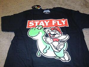 Super-Mario-Brothers-Mens-KO-Yoshi-Nintendo-Black-T-Shirt-Size-Medium-M