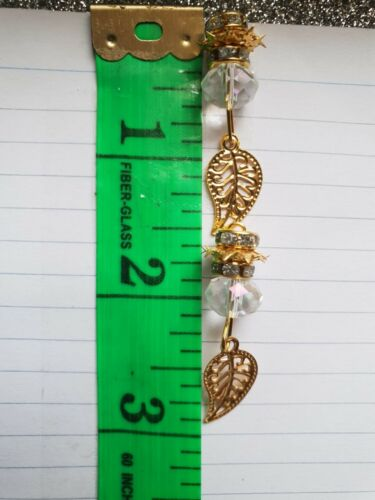 Very unique pearls! NEW Crystal clear bead  with gold leave hanging