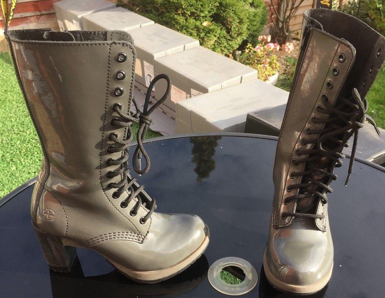 Dr Martens Dee grey patent leather boots UK 3 EU 36 heels.
