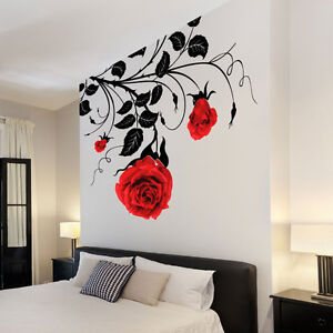 Large Flower Roses Vines Vinyl Wall Art Stickers Wall Decals - Vinyl decals for the wall