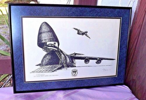 "1991 ""C58 GALAXY 56TH MILITARY AIRLIFT SQUADRON "" LINDA TERENTIAK METAL FRAMED"