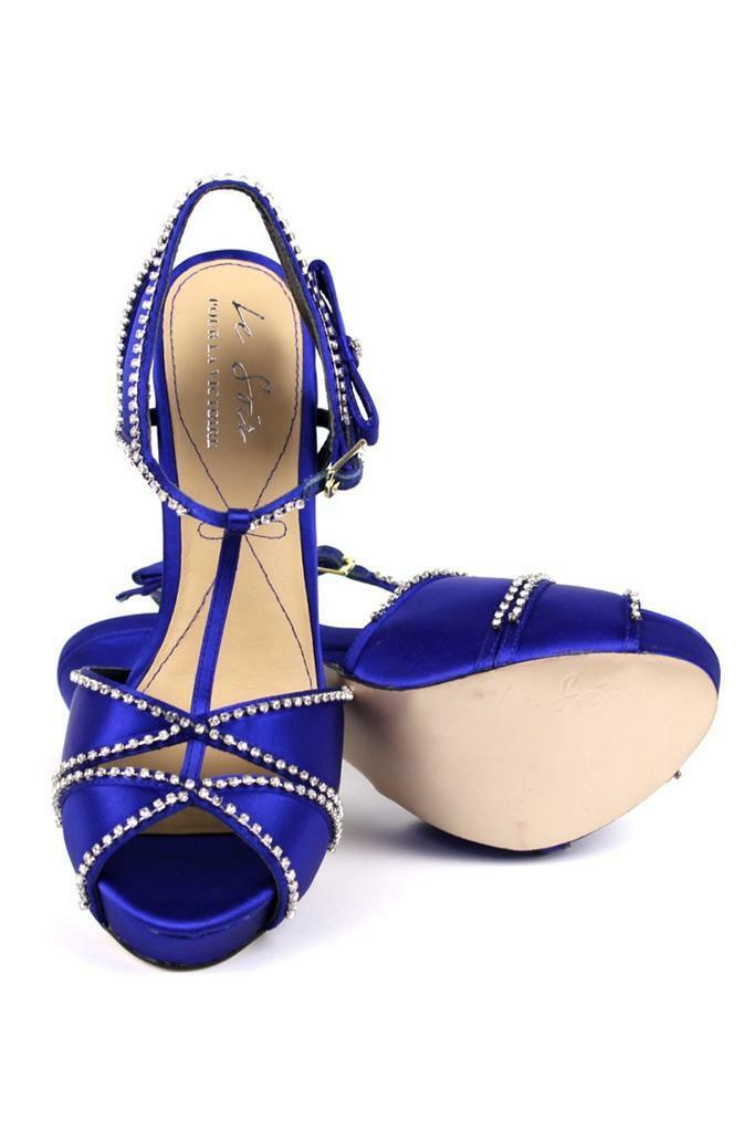 La Soir Pour La Victoire Blissa Royal Blau Platform Sandale crystal rhinestones