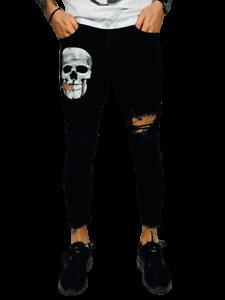 Pantaloni-Uomo-Nero-Elasticizzati-Jeans-Slim-Fit-Strappati-Skinny-Aderenti-Toppe