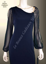 IVANKA TRUMP Women Dress Size 16 NAVY BLACK Long Sleeve SHEER Knee Dressy LBCUSA