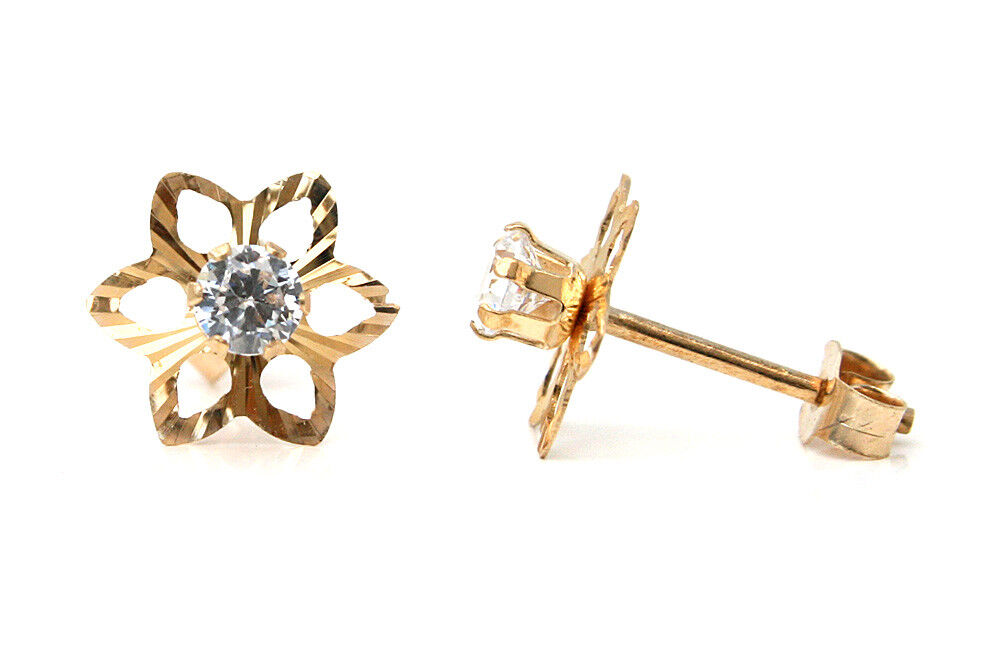 9ct gold CZ Star stud Earrings Gift Boxed Studs Made in UK Birthday Gift