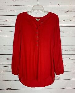 Lucky Brand Women's S Small Red Button Long Sleeve Cute Spring Top Blouse Shirt