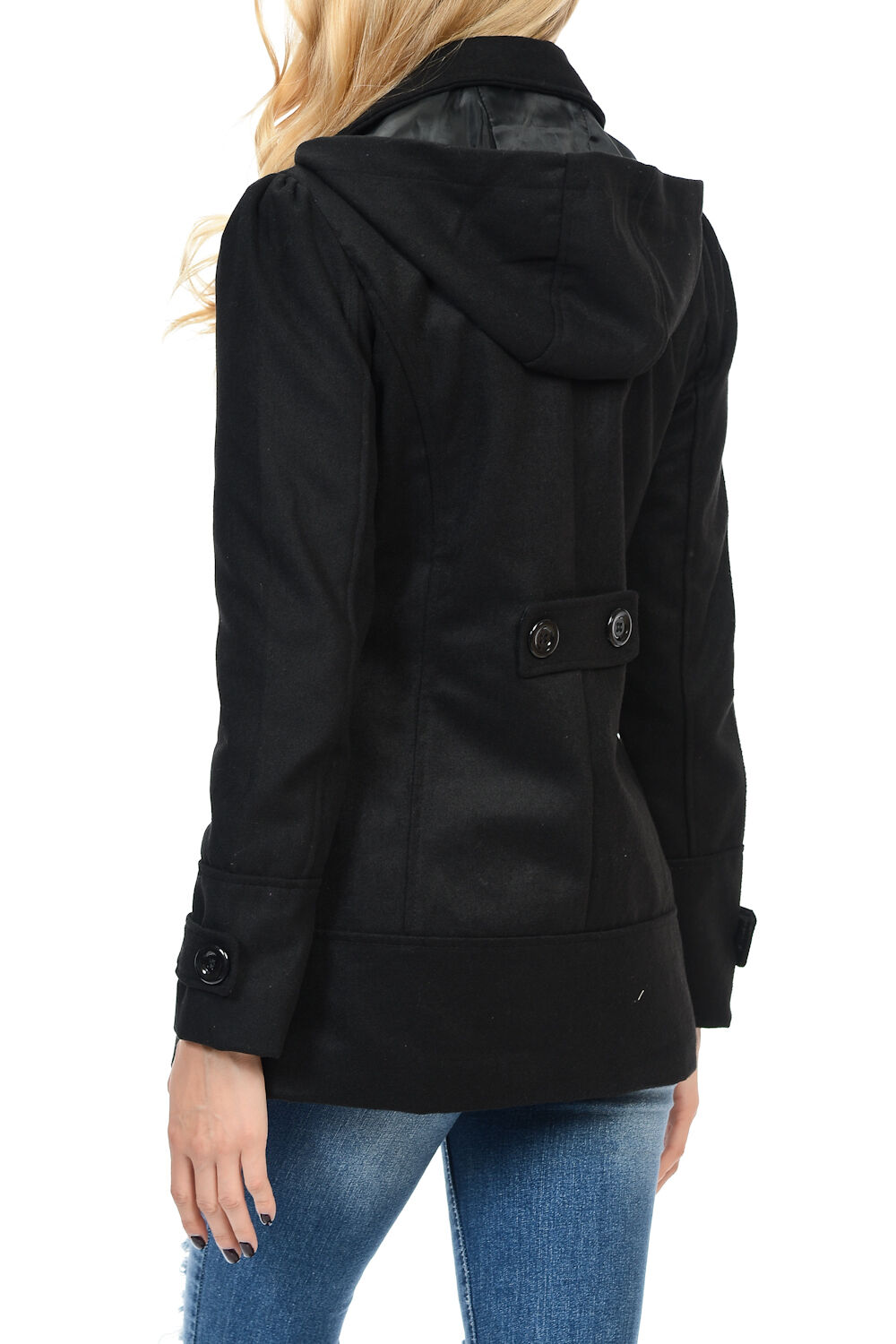 Womens Double Breasted Wool Blend Hooded Pea Pea Pea Coat f7c4d9
