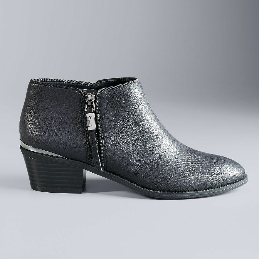 NWT Women's Stacked-Heel Ankle Boots Choose Size Black Ink