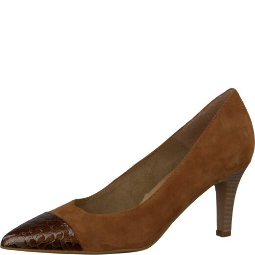 Tamaris Womens 22412 Tan Suede With Patent Croc Leather Pointed Toe Court shoes
