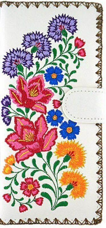LAVISHY MEXICAN FLORA EMBROIDERED LARGE WALLET VEGAN FAUX LEATHER NEW 98-206Wh