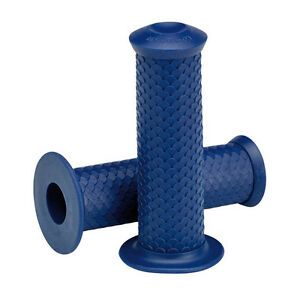 MANOPOLE-LOWBROW-FISH-SCALE-GRIPS-BLUE-22mm-CAFE-RACER-BRAT-SCRAMBLER-BOBBER