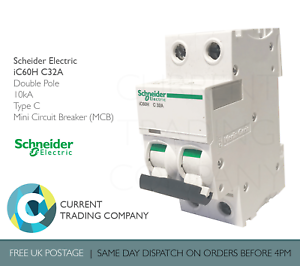 SCHNEIDER ACTI9 iC60H 32 AMP TYPE C 32A DOUBLE POLE PHASE BREAKER MCB A9F54232