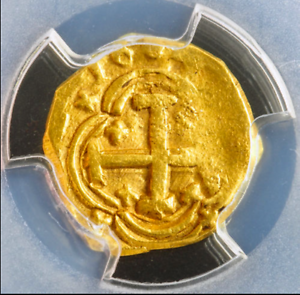 """SPAIN 1687 """"FULLY DATED!"""" 1 ESCUDO PCGS 58 1715 FLEET ERA GOLD COB DOUBLOON COIN"""