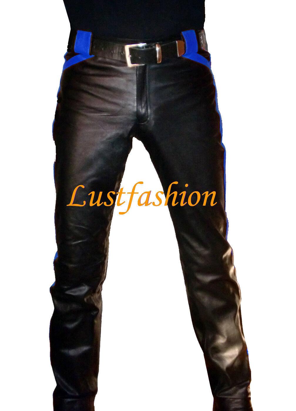 DEsigner Lederhose schwarz blau leather trousers pants schwarz Blau Pantalon Cuir