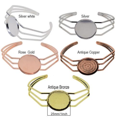 2x Metal Cuff Bangle Bracelet Blanks Base 25mm Round Cabochon Cameo Settings