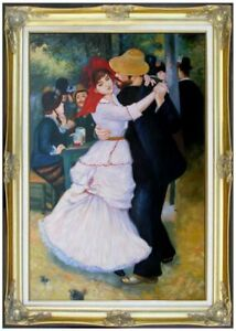 Framed Hand Painted Oil Painting, Pierre Renoir Dance at Bougival Repro 24x36in