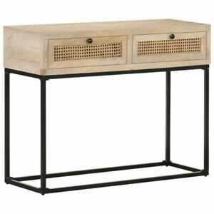 vidaXL  Bois de Manguier Table Console 100x35x76 cm Canne Naturelle Couloir