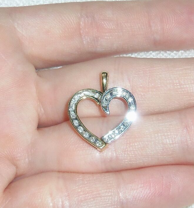 10k Two Tone Yellow and White gold Diamond Heart Pendant