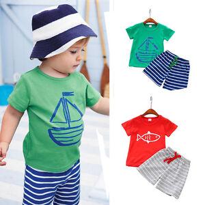 Summer-Casual-Kids-Toddler-Baby-Boy-T-Shirt-Tops-Beach-Shorts-Pants-2PCS-Clothes