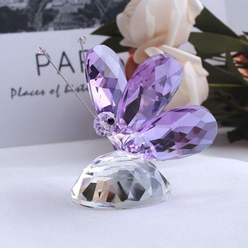 Handmade Crystal Butterfly Miniature Figurine Animal Craft Glass Garden Fairy
