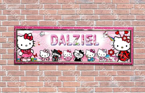 Personalized Customized Hello Kitty 2 Name Banner Wall Decor Poster with Frame