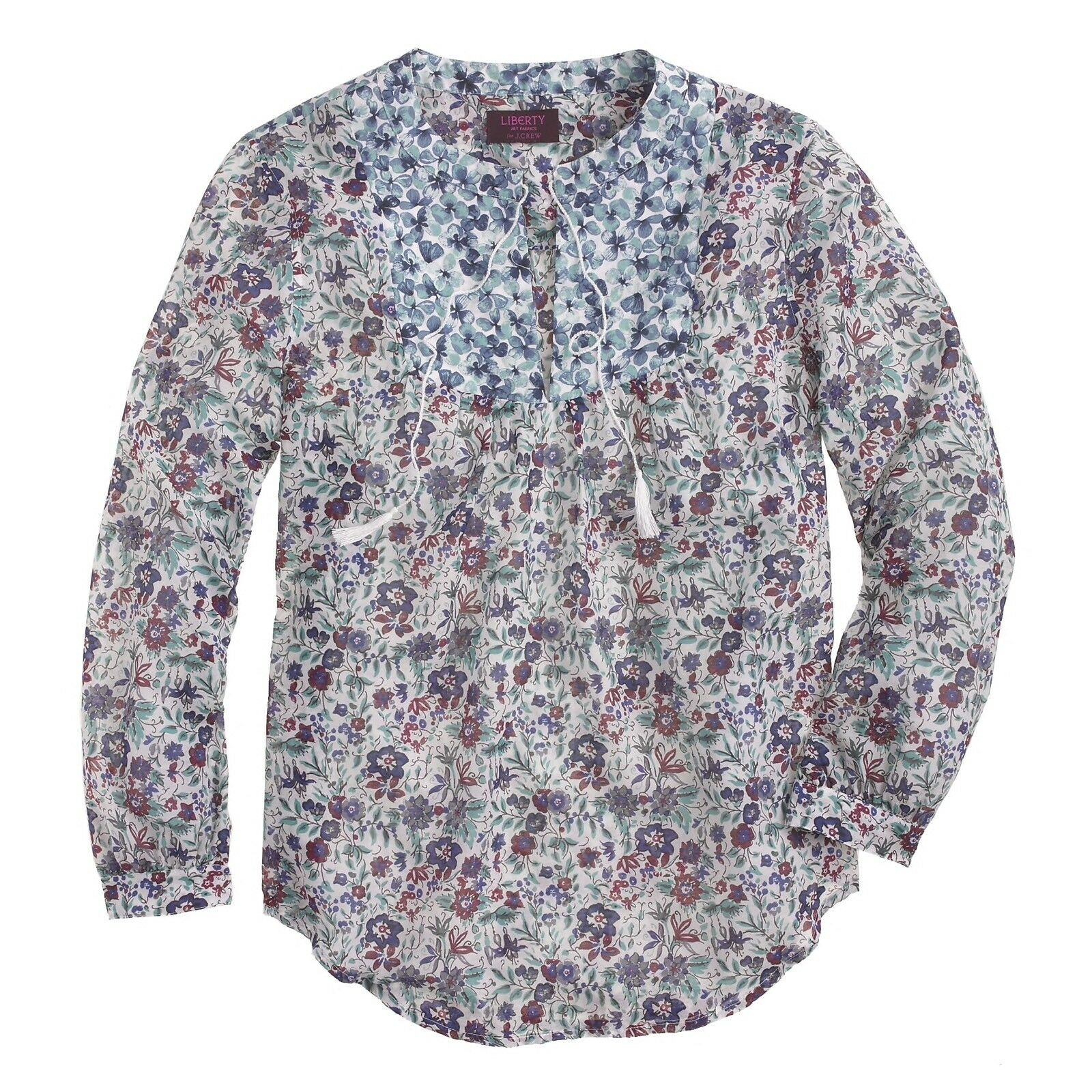 NWOT  J.CREW Größe 10 Liberty Peasant Top in Molly Floral Cotton Silk