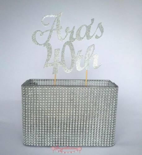 Custom Glitter Cake Topper 2 LINE 2 WORD Birthday Wedding 21st  30th 40th Baby