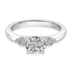 0-74-Ct-Real-Diamond-Engagement-Ring-14K-Solid-White-Gold-Wedding-Band-J-5-N-M-L