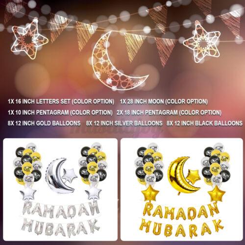 Eid Ramadan Mubarak Letter Pentagram Moon Party Foil Balloons Set Home Decor