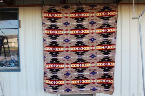SOUTHWEST DESIGN INDIAN NATIVE QUEEN SIZE BLANKET BEDSPREAD CAMEL//LIGHT BROWN