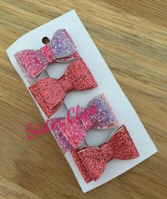 Filles Handmade 4 Baby//Toddler S Rose /& Rainbow Glitter hair bow Clips