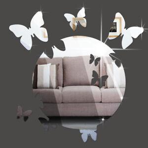 Schmetterling-Spiegel-Deko-Set-30cm-Goldspiegel-Kunststoff-PS-mit-Klebepunkt