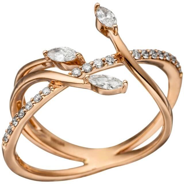JOBO Damen Ring 60mm verschlungen 585 Gold Rotgold 22 Diamanten Brillanten Rotgo