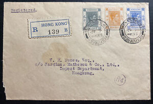 1938-Hong-Kong-First-Day-cover-FDC-To-King-George-VI-stamp-Issue-Local-Sc-155
